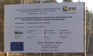 EFRE-Schild Waldumbau Teufelssee in den Müggelbergen, Februar 2015
